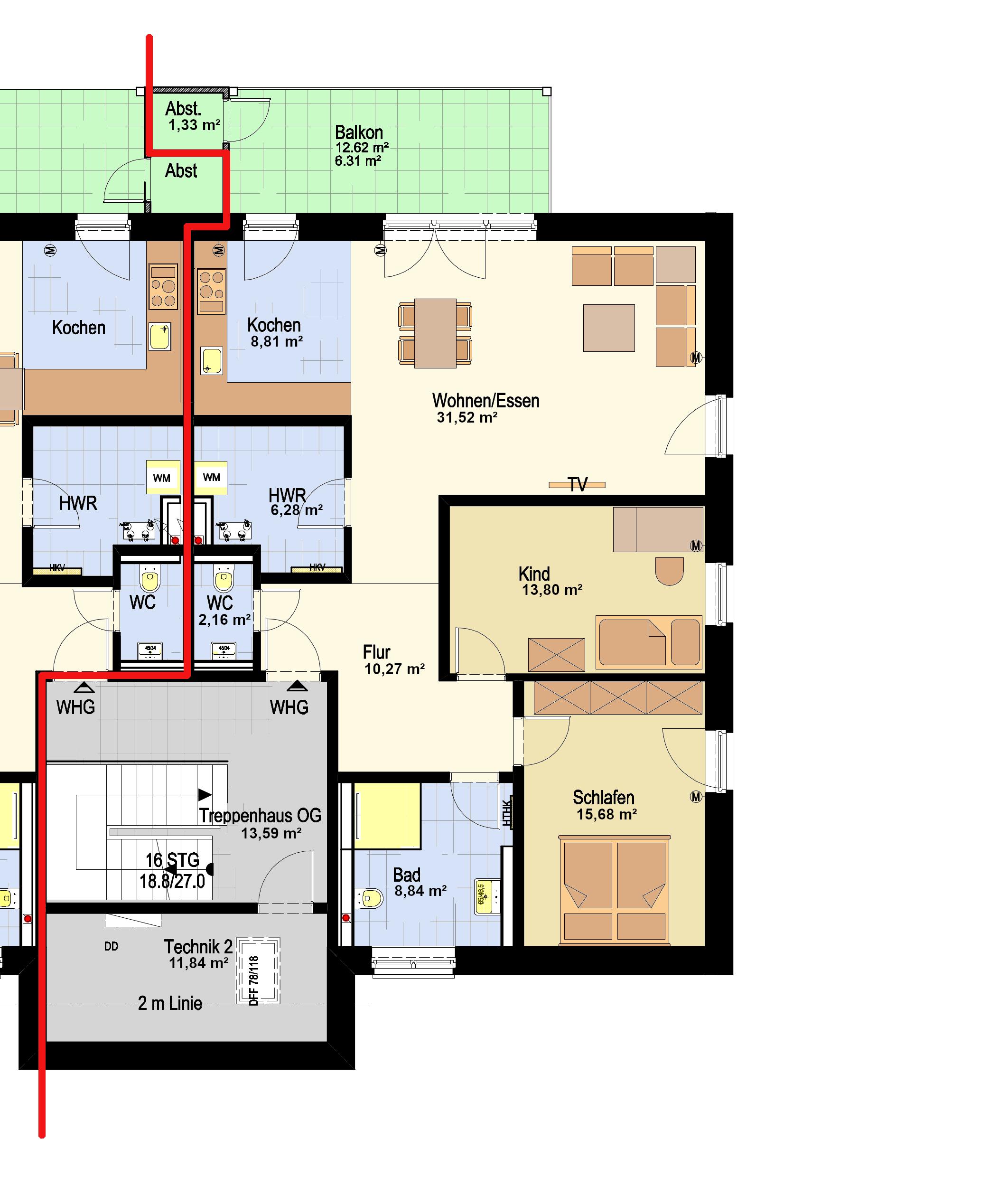 1.OG Haus 1 WGH 3_Haus 2 WHG 4